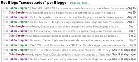 Intercambio epistolar con Google / Blogger